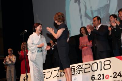 21 juin - Ouverture du 26e Festival du Film Français au Japon - Takako Tokiwa et Nathalie Baye - © Laurent Campus