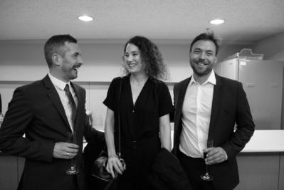 21 de junio: Inauguración del festival - Xavier Legrand, Coralie Fargeat et Hubert Charuel - © S. Cauchon/UniFrance