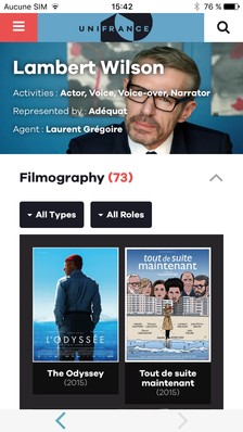 UniFrance lance sa nouvelle application Mobile - Appli UniFrance Mobile - Fiche personne (EN)