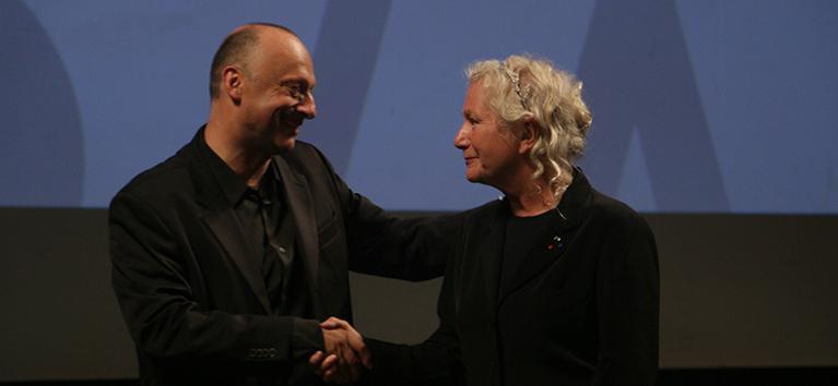 Cintas francesas en el  Festival de Sarajevo - Agnès b. et le directeur du festival, Mirsad Purivatra