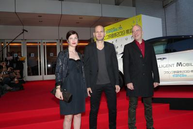 June 20: Opening of the 27th French Film Festival in Japan - Judith Davis, Nadav Lapid et Sylvain Auzou (UniFrance) - © Laurent Campus