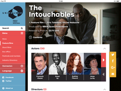 UniFrance launches its new mobile app - Appli UniFrance Tablette - fiche film (EN)