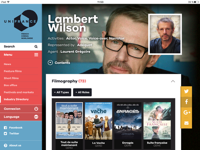 UniFrance launches its new mobile app - Appli UniFrance Tablette - fiche personne (EN)