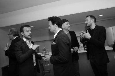 20 de junio – Inauguración del 27° Festival de Cine Francés de Japón - Dans les coulisses : le producteur Pierre Guyard, Nicolas Brigaud-Robert (Playtime), Sébastien Marnier et Mikhaël Hers - © Laurent Campus