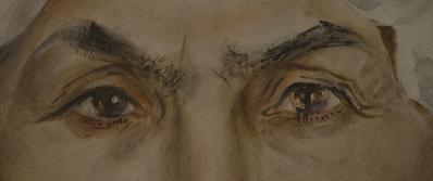 Because I Was a Painter - © Dina Gotliebova, Détail du visage d'une tzigane, aquarelle faite sous la contrainte du Docteur Mengele, Auschwitz. Jour2Fête