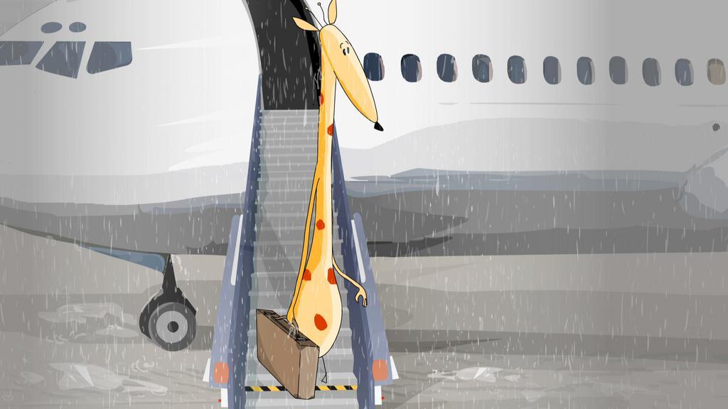 Une girafe sous la pluie