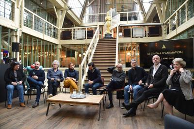 UniFrance et l'Académie des Oscars associés pour deux journées à Paris en l'honneur du cinéma français - Le panel sur l'animation, dans les locaux de Xilam - © Giancarlo Gorassini - Bestimage / UniFrance