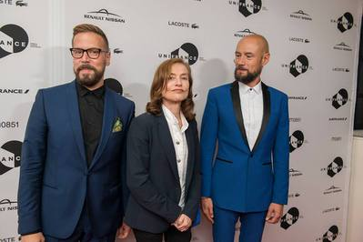 Toronto 2016: report on French films at the 41st edition - Yves Verbraeken (producteur), Isabelle Huppert et Bavo Defurne (réalisateur) pour Souvenir - © UniFrance