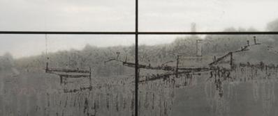 Parce que j'étais peintre - © . Paul Goyard, Dessin en transparence depuis le site de l'ancienne place d'appel de Buchenwald; au fond l'ombre du Crématorium – 1944. Jour2Fête