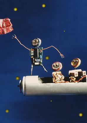 Trois petits cochons dans l'espace