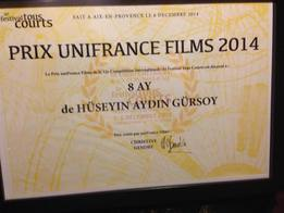 UniFrance Films presents a prize at Aix-en-Provence