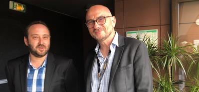 Autour de Minuit reçoit le premier Prix UniFrance/La Fête du Court du distributeur de courts métrages - Nicolas Schmerkin en compagnie de François Serre (Courant3D)