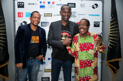 Review of the 1st Rendez-Vous with Francophone Cinema in Abidjan - Mamane et deux de ses comédiens, Digbeu Cravate et Léonard Groguhet