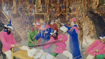 The Martyrdom of St. Apollina, 1461, Jean Fouquet