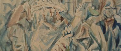 Parce que j'étais peintre - © Boris Taslitzky, Détail d'une aquarelle du «petit camp», Buchenwald – février 1945. Jour2Fête