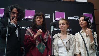 Portfolio Festival de Cannes 2018 - Remise des Prix France Culture : Bertrand Mandico et les actrices des 'Garçons sauvages' - © Simon Helloco/UniFrance