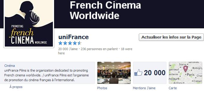 Superada la cota de  20.000 abonados en el Facebook de UniFrance films