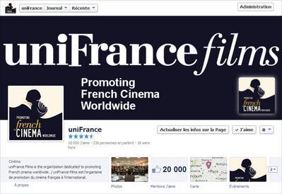 Le Cap des 20.000 abonnés sur le Facebook d'uniFrance films