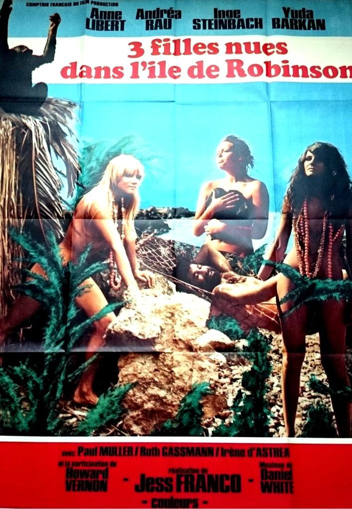 Trois filles nues dans l'île de Robinson